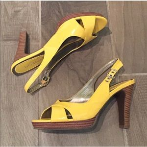 🔷BOGO🔷 Yellow peep toe heels sandals open toe